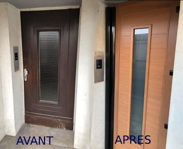 Changement de 2 portes de hall en bois avec bandeau ventouse à Bernay